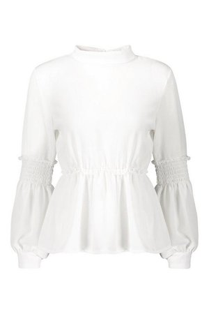 Woven Shirred Balloon Sleeve Blouse | Boohoo
