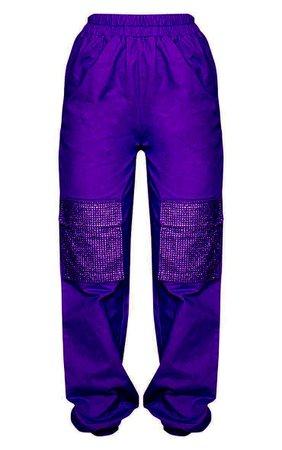Purple Diamante Pocket Detail Cargo Trousers | PrettyLittleThing