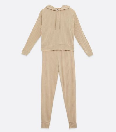 Camel Ribbed Hoodie and Trouser Lounge Set | New Look