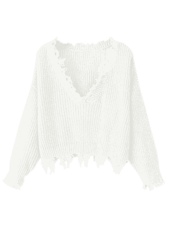 Loose Ripped V Neck Sweater WHITE: Sweaters ONE SIZE | ZAFUL