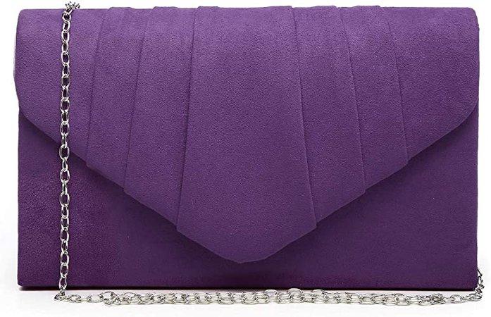 Dasein Womens Evening Bag Velvety Pleated Envelope Clutch Handbag Wedding Party Bridal Purse (Purple): Handbags: Amazon.com