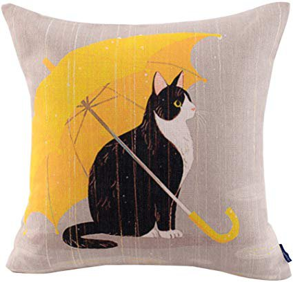 JES&MEDIS Cute Cat Theme Print Square Throw Pillow Cover Cotton Linen Spring Home Decorative Cushion Case for Bed Office Car 18 x 18 Inches, Yellow Umbrella Cat: Home & Kitchen