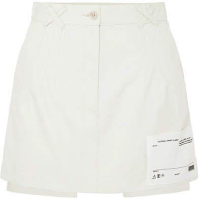 Appliquéd Cotton-canvas Mini Skirt