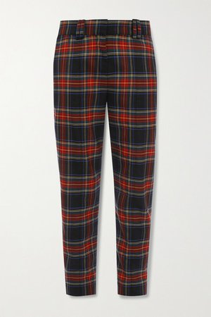Checked Wool-blend Slim-leg Pants - Red