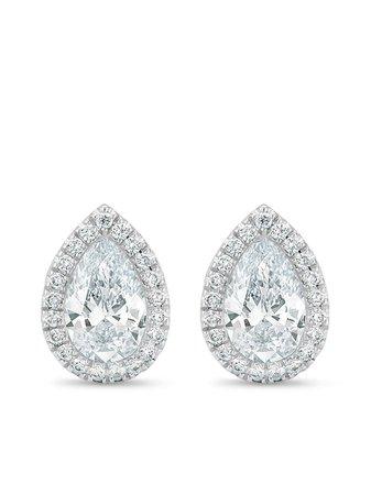 De Beers 18kt White Gold Aura pear-shaped Diamond Stud Earrings - Farfetch