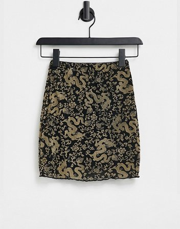 Motel mini bodycon skirt in dragon flock mesh print   ASOS