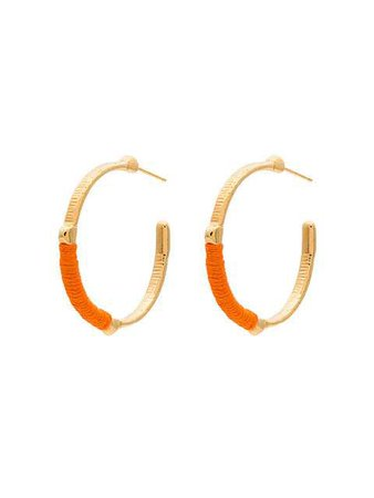 Marte Frisnes Gold Metallic And Orange Dido Sterling Silver Hoop Earrings - Farfetch