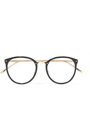 Linda Farrow | 251 C1 round-frame acetate and gold-plated optical glasses | NET-A-PORTER.COM
