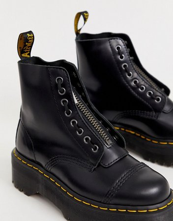 Dr Martens Sinclair Black Leather Zip Chunky Flatform Boots | ASOS