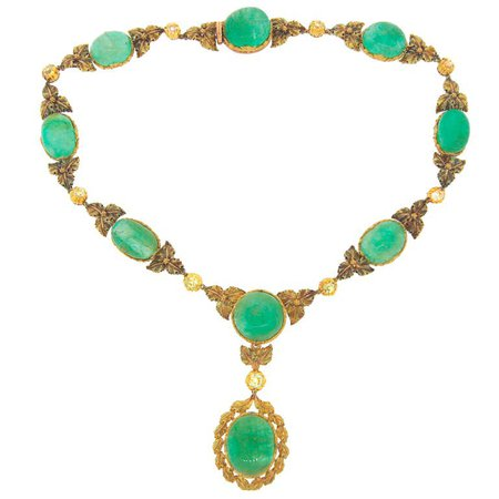 MARIO BUCCELLATI Diamond Emerald Yellow Gold Necklace For Sale at 1stDibs