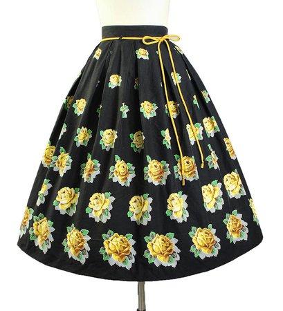 Vintage 50s ROSE Print Skirt / 1950s Kerrybrooke Cotton FLORAL | Etsy