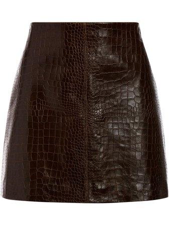Alice+Olivia faux snake skin skirt brown CC006I35315 - Farfetch