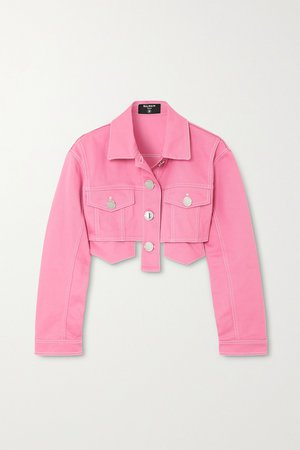 Pink Cropped denim jacket | Balmain | NET-A-PORTER