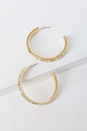 Gorgeous Gold Hoops - Rhinestone Hoops - Hoop Earrings