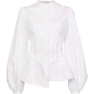 White Corset Long Sleeve Blouse