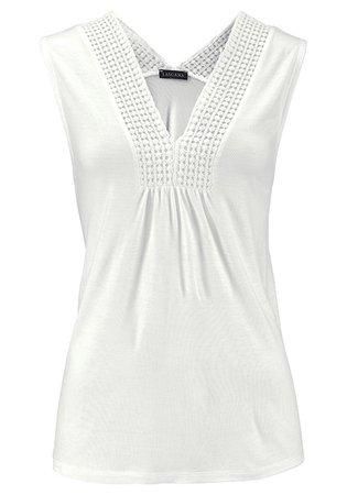 White Crochet Insert Tank Top, Drawstring Waist Pants