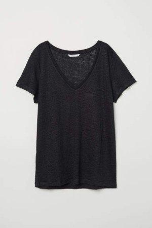Linen Top - Black