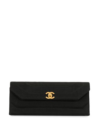Chanel Pre-Owned 1992 Ribbed Quilted Clutch Vintage | Farfetch.com