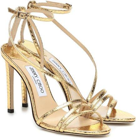 Tesca 100 metallic leather sandals