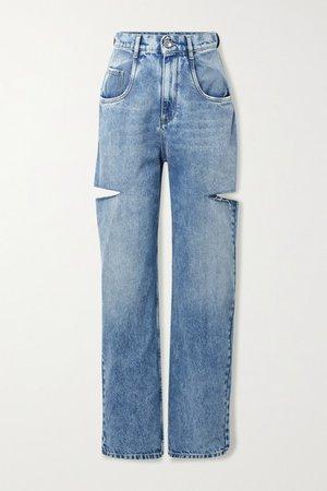 Cutout Distressed High-rise Wide-leg Jeans - Blue