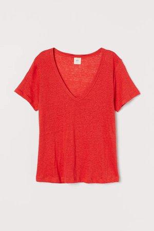 Linen Jersey Top - Red