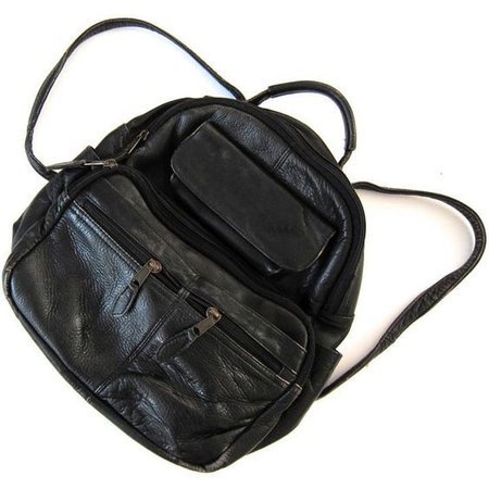 Mini Backpack Black Leather Backpack 90s Backpack Rucksack