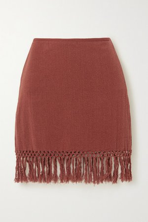 The Jasmine Fringed Macrame Ramie Mini Skirt - Brick