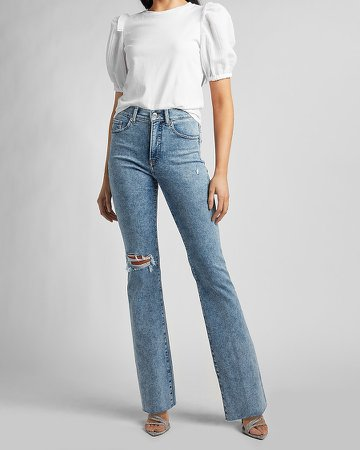 High Waisted Ripped Raw Hem Bootcut Jeans