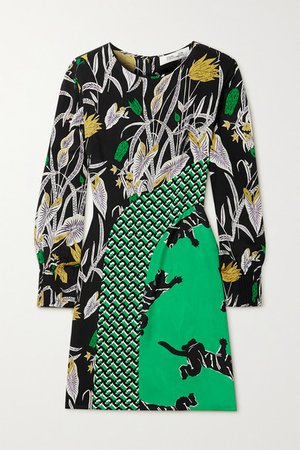 Jamie Printed Silk Crepe De Chine Mini Dress - Green