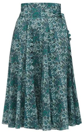 Sophie Scalloped Floral Print Cotton Skirt - Womens - Green Multi