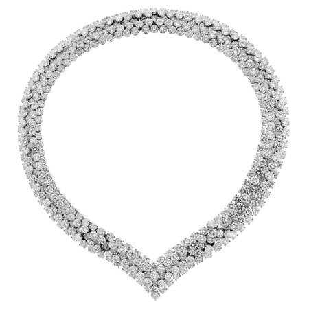 Diamond Platinum Choker Necklace Bracelet