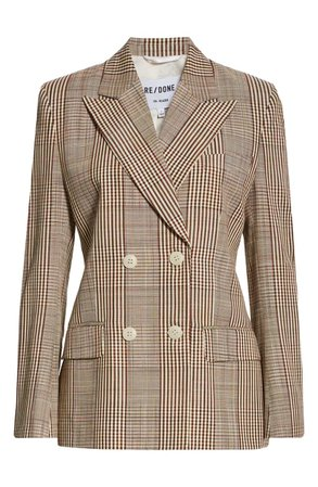 Re/Done '70s Plaid Double-Breasted Blazer | Nordstrom