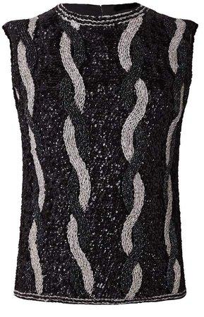 Hasanova Silverin Black Sleeveless 3D Sequin Top