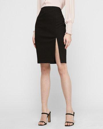High Waisted Side Slit Pencil Skirt