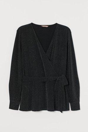 H&M+ Glittery Wrapover Top - Black