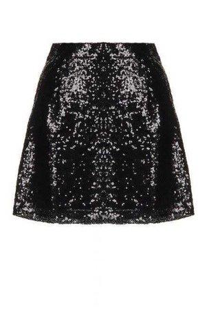 black Sequin Flared Skater Skirt
