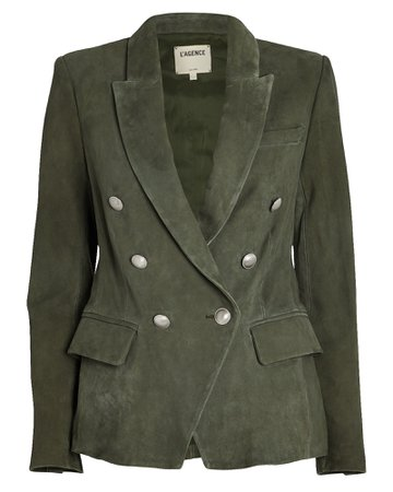 L'Agence | Kenzie Double-Breasted Suede Blazer | INTERMIX®