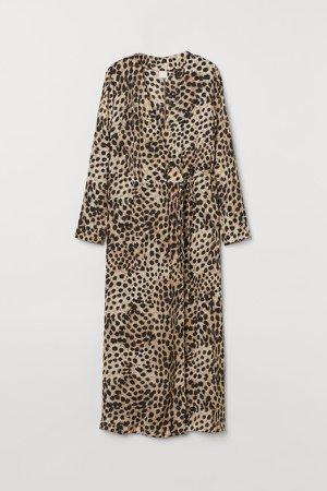 Calf-length Wrap Dress - Beige