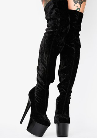 Vday Velvet Thigh High Stiletto Boots Platform Black | Dolls Kill