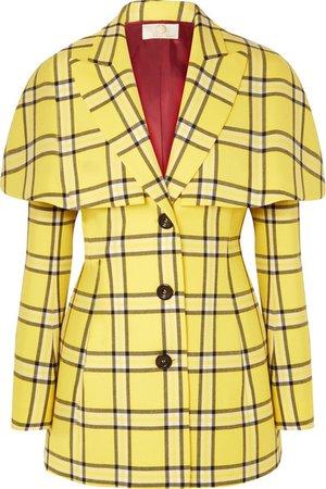 Sara Battaglia Cape-effect checked wool blazer