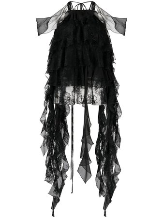 Blumarine, layered floral-lace silk blouse