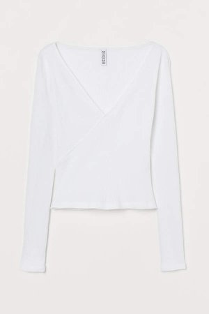 Ribbed Jersey Top - White