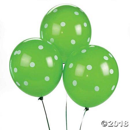 """Lime Green Polka Dot 11"""" Latex Balloons"""