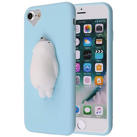 Amazon.com: Cute Lazy Cat 3D iPhone 7 Case, Cute 3D Soft Poke Squishy Silicone TPU Protective Cover for iPhone 7 (Blue Polar Bear): Cell Phones & Accessories