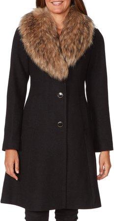 Faux Fur Shawl Collar Fit & Flare Coat