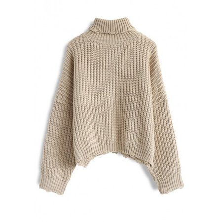 oatmeal chunky knit turtleneck sweater
