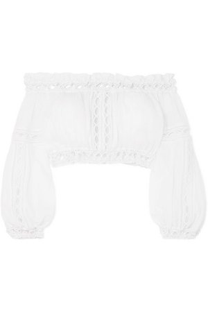 Charo Ruiz | Alova cropped crocheted lace-paneled cotton-blend top | NET-A-PORTER.COM