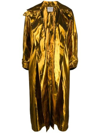 Forte Forte Metallic Oversized Coat 7262MYCOAT Gold | Farfetch