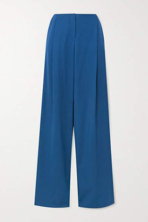 Wool Wide-leg Pants - Blue