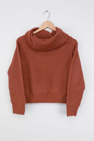 Cute Rust Red Sweater - Knit Sweater - Off-the-Shoulder Sweater - Lulus